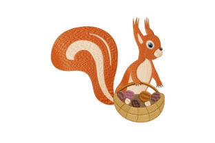 Print on Demand: Cute Baby Squirrel with a Basket Baby Animals Embroidery Design By EmbArt