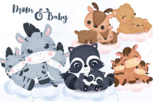 Print on Demand: Cute Mom and Baby Animals Clipart Set Graphic Illustrations By DrawStudio1988