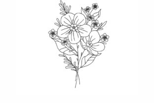 Flower Outline Flowers Embroidery Design By NinoEmbroidery