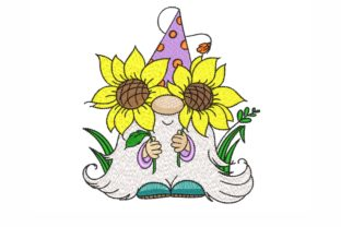 Gnome with Sunflowers Bouquets & Bunches Embroidery Design By SonyaEmbroideryStore