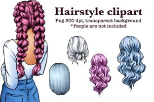 Hairstyle Digital Clipart, Fashion Art Graphic Illustrations By Arte de Catrin