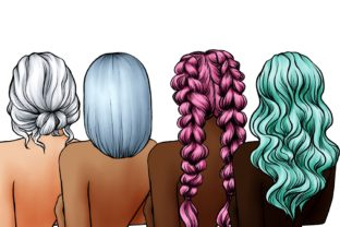 Hairstyle Digital Clipart, Fashion Art Graphic Illustrations By Arte de Catrin 2