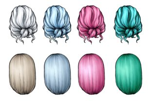 Hairstyle Digital Clipart, Fashion Art Graphic Illustrations By Arte de Catrin 5