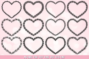 Heart Flower Border SVG,Heart Frame SVG Graphic Crafts By goodfox86