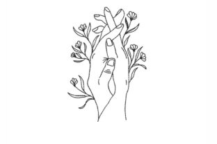 Holding Hands Line Art Outline Flowers Embroidery Design By NinoEmbroidery