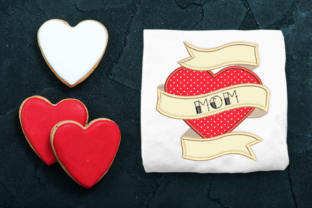 Mom Heart Tattoo Mother Embroidery Design By DesignedByGeeks