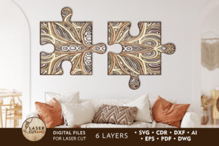 Print on Demand: PUZZLE Multilayer Laser Cut Files Graphic 3D SVG By LaserCutano