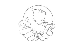 Print on Demand: Planet in Hands North America Embroidery Design By ArtEMByNatali