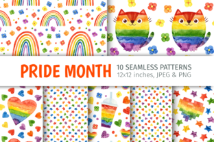 Print on Demand: Pride LGBTQ, Watercolor Seamless Pattern Graphic Patterns By ValinMalin