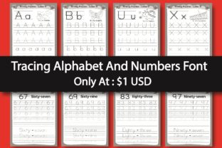 Print on Demand: Tracing Alphabet and Numbers Display Font By eliteasia