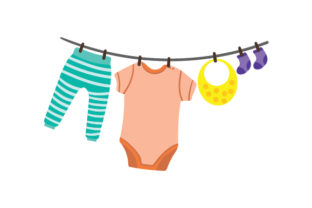 Washing Line with Baby Clothes Baby Craft Cut File By Creative Fabrica Crafts 1