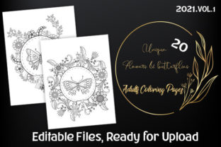 Print on Demand: 20 Flowers Adults Coloring Pages Graphic Coloring Pages & Books Adults By Bellart