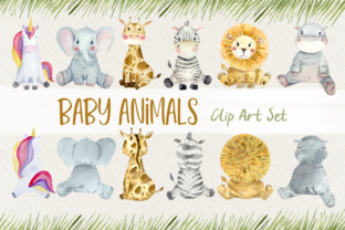 Baby Animals Front and Back Clip Art Graphic Illustrations By tatibordiu