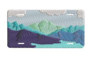 Blank Licence Plate with Mountain Vacation Embroidery Design By Embroidery Designs