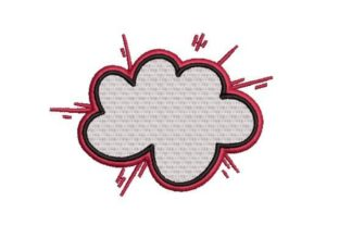 Comic Book Style Cloud Summer Embroidery Design By Embroidery Designs