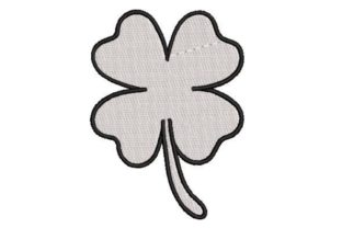 Fourleaf Shamrock Outline St Patrick's Day Embroidery Design By Embroidery Designs