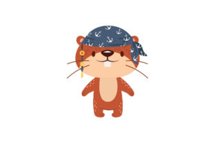 Funny Pirate Animals Flat Graphic Illustrations By zia studio