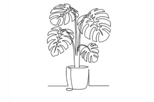 Monstera Leaf in a Pot Outline Flowers Embroidery Design By NinoEmbroidery