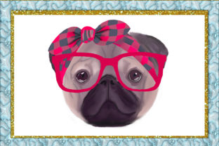 Print on Demand: Pug Dog with Glasses Graphic Illustrations By larisaetsy