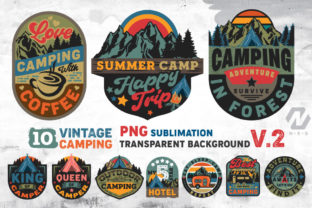 Print on Demand: Vintage Camping PNG Sublimation Bundle Graphic Illustrations By nesdigiart
