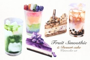 Print on Demand: Watercolor Clipart  Fruit Drink Set Graphic Illustrations By aekgasit