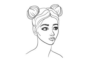 Women's Face Coloring Page Beauty & Fashion Craft Cut File By Creative Fabrica Crafts
