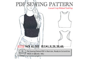 Casual Crop Ribbed TankTop Graphic Sewing Patterns By patternido.com