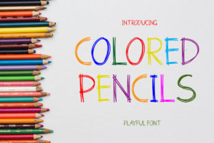 Print on Demand: Colored Pencils Color Fonts Font By PurMoon