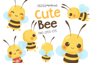 Print on Demand: Cute Bee Graphic Illustrations By DigitalPapers
