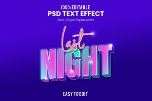 Print on Demand: Last Night-3D PSD Text Effect Graphic Actions & Presets By Ditatype