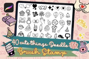 Print on Demand: Procreate Brush Stamp Cute Things Doodle Graphic Brushes By AchitaStudio 1