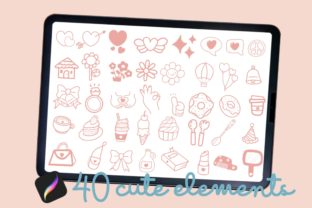 Print on Demand: Procreate Brush Stamp Cute Things Doodle Graphic Brushes By AchitaStudio 2