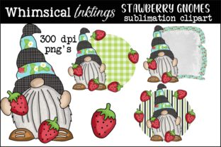 Strawberry Gnomes Graphic Illustrations By Whimsical Inklings