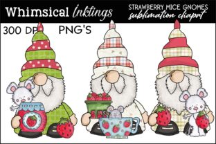 Strawberry Mice Gnomes Graphic Illustrations By Whimsical Inklings