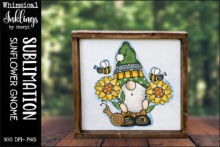 Sunflower Gnome Graphic Illustrations By Whimsical Inklings
