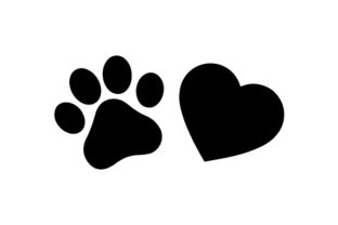 Paw Print and Heart Dogs Craft Cut File By Creative Fabrica Crafts