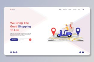 Print on Demand: Best Delivery Flat Landing Page Template Graphic Landing Page Templates By themesfusion