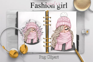 Print on Demand: Fashion Girl Clipart.Winter Planner Girl Graphic Illustrations By LerVik