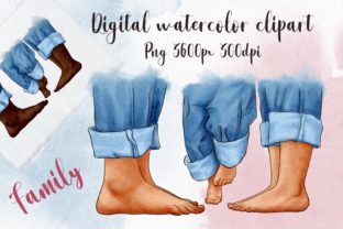 Feet Family Clipart, Parents and Child Graphic Illustrations By Arte de Catrin