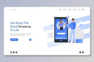 Print on Demand: Free E Commerce Website Header Part Graphic Landing Page Templates By themesfusion