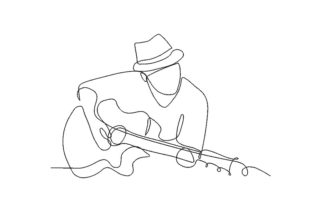 Print on Demand: Guitar Player Music Embroidery Design By ArtEMByNatali