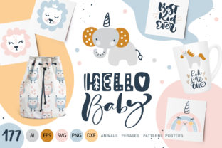 Hello Baby Animals & Calligraphy Graphic Objects By Happy Letters