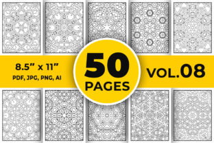 Mandala Coloring Page, 50 Pages Vol-08 Graphic Coloring Pages & Books Adults By designdraft