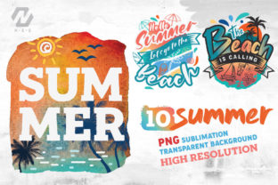Print on Demand: Summer and Beach Sublimation Bundle Graphic Illustrations By nesdigiart 1