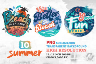 Print on Demand: Summer and Beach Sublimation Bundle Graphic Illustrations By nesdigiart 2