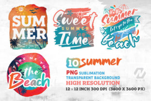 Print on Demand: Summer and Beach Sublimation Bundle Graphic Illustrations By nesdigiart 4