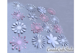 16 SVG/DXF Flower Centers for Paper Flow Graphic 3D Flowers By Canada Crafts Studio