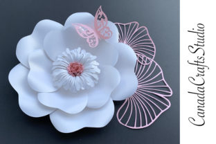 3D Aper Flower Template 56 + Leaf Graphic 3D Flowers By Canada Crafts Studio