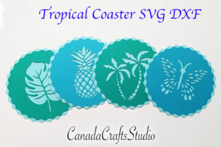 4 Tropical Coasters Template SVG Graphic 3D SVG By Canada Crafts Studio