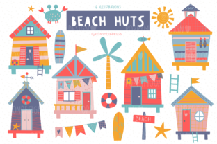 Print on Demand: Beach Huts Clipart Set Graphic Illustrations By poppymoondesign